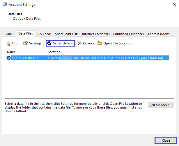 Mail account setting in Outlook