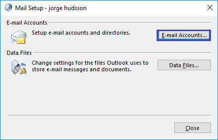 Email account set up in Outlook